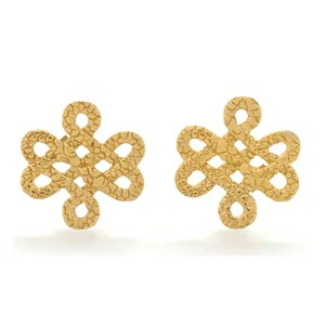 Infinity Knot 18k Yellow Gold Vermeil Studs by Tulola Designs