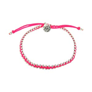 Small Silver Beads Bites Neon Pink Nylon Thread Bracelet by Kriss and Jules