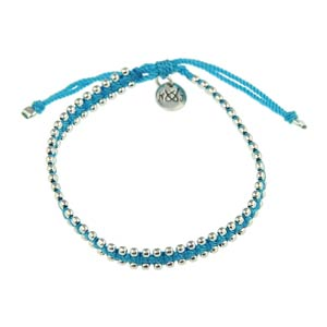 Small Silver Beads Neon Blue Nylon Thread Bracelet by Kriss & Jules