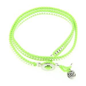 Small Silver Tubes Double Neon Green Nylon Bracelet Kriss & Jules