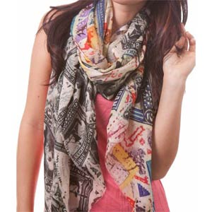 Stamp Art Scarf by Binday NY